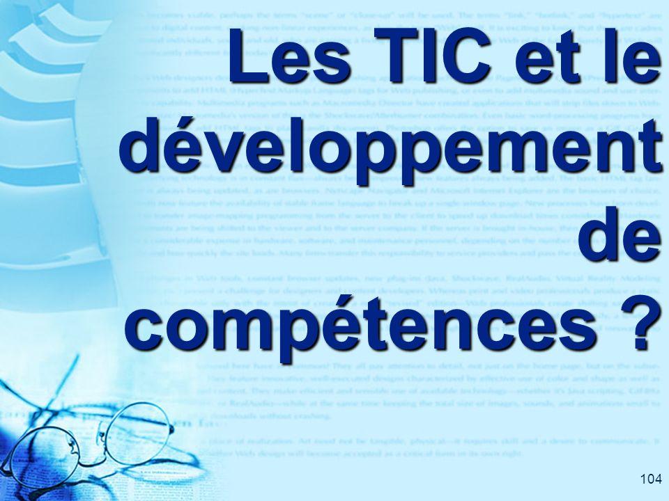 104 Les TIC et le développement de compétences