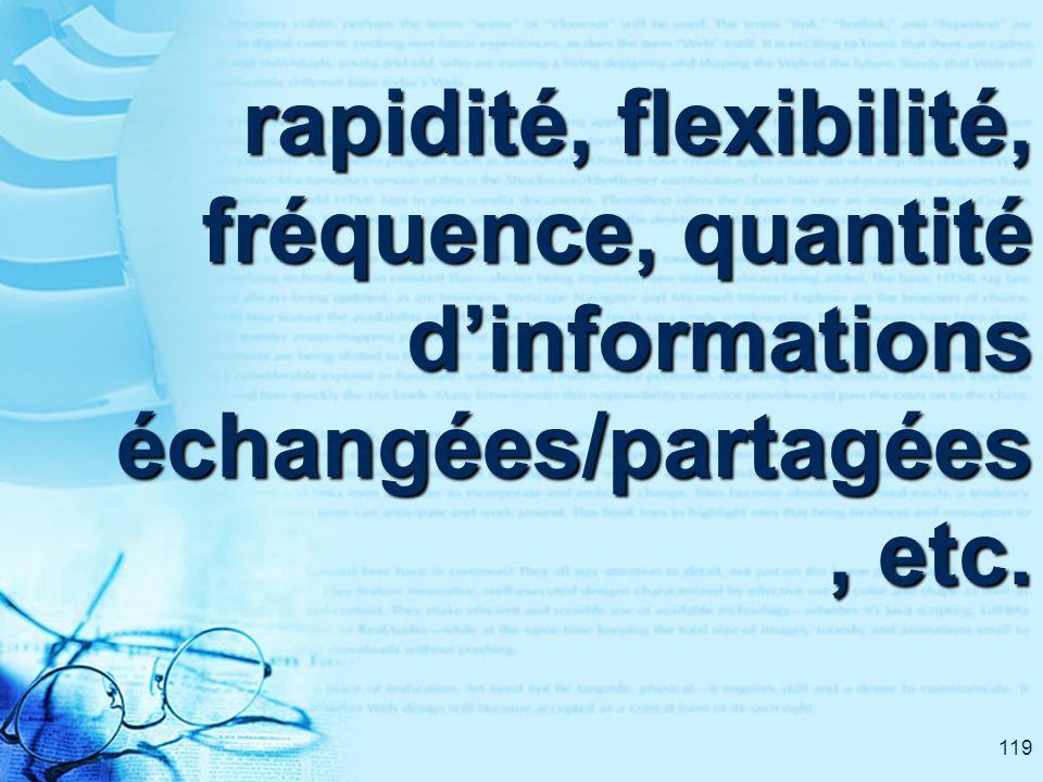 119 rapidité, flexibilité, fréquence, quantité dinformations échangées/partagées, etc.