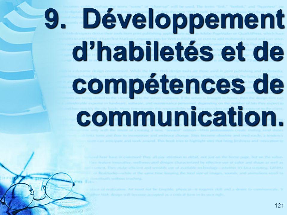 121 9. Développement dhabiletés et de compétences de communication.