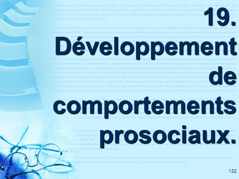 132 19. Développement de comportements prosociaux.