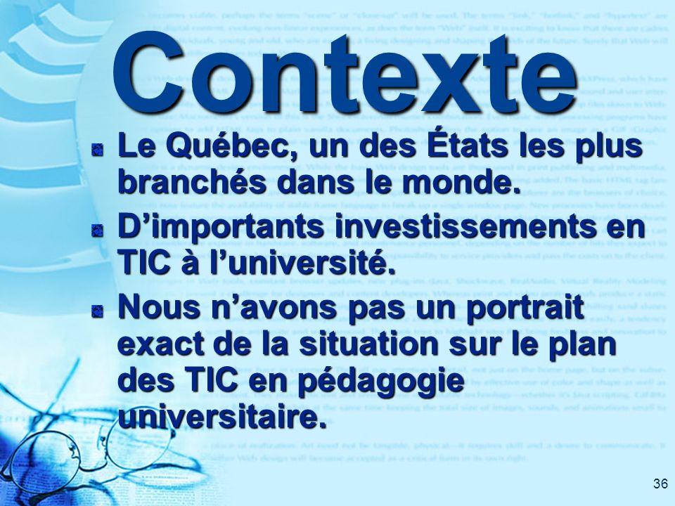 36Contexte Le Québec, un des États les plus branchés dans le monde. Dimportants investissements en TIC à luniversité. Nous navons pas un portrait exac
