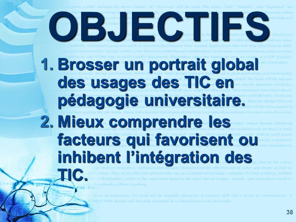38OBJECTIFS 1. Brosser un portrait global des usages des TIC en pédagogie universitaire. 2. Mieux comprendre les facteurs qui favorisent ou inhibent l