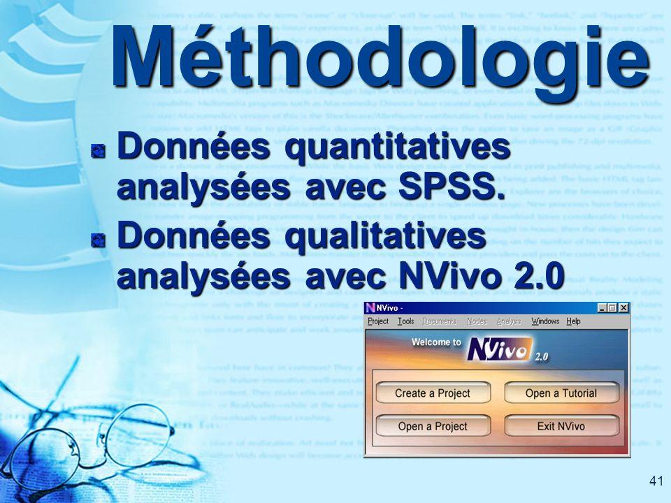 41Méthodologie Données quantitatives analysées avec SPSS. Données qualitatives analysées avec NVivo 2.0