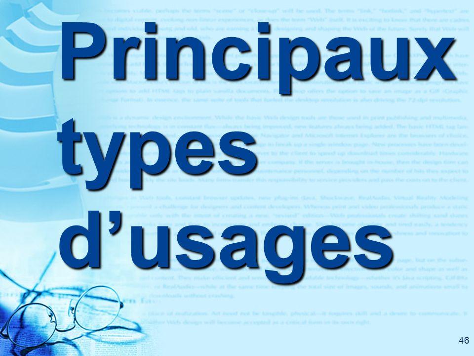 46 Principaux types dusages