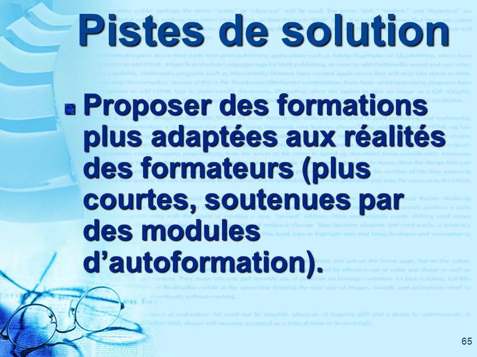 65 Pistes de solution Proposer des formations plus adaptées aux réalités des formateurs (plus courtes, soutenues par des modules dautoformation).