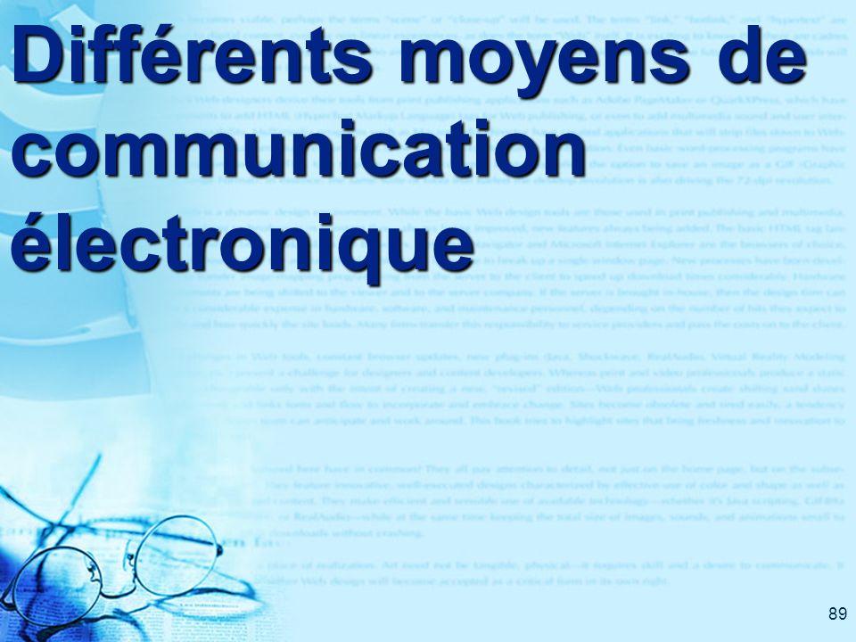 89 Différents moyens de communication électronique
