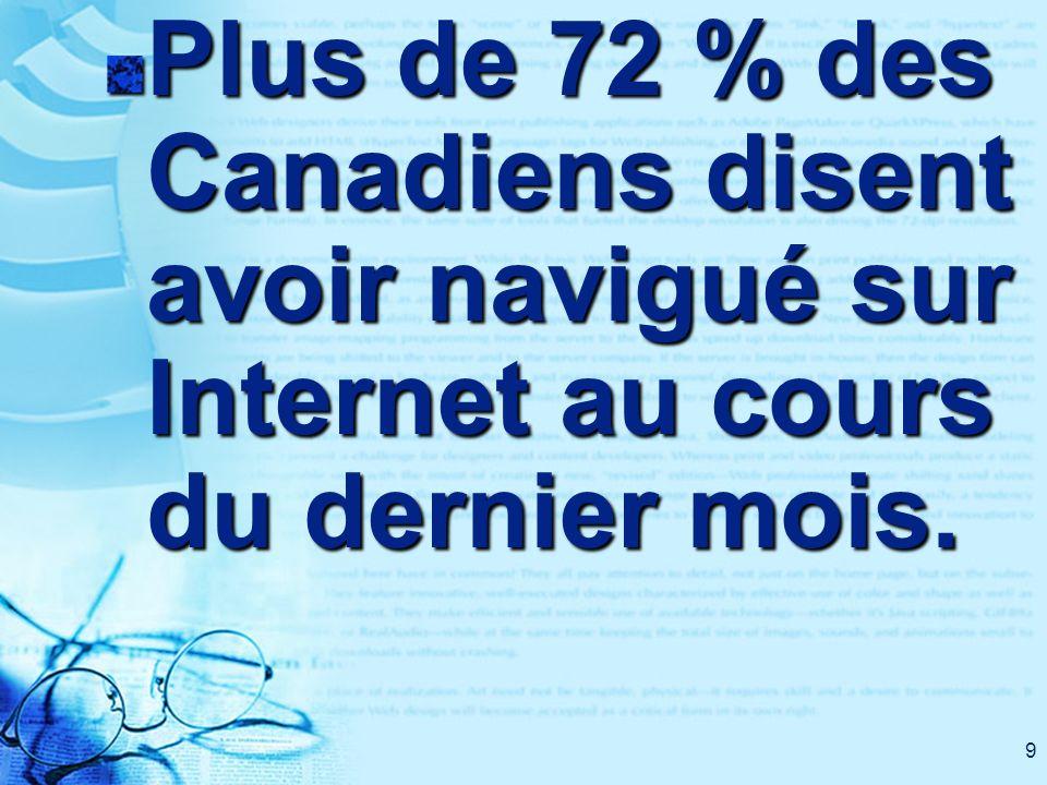 10 Une étude de Média Metrix Canada révèle que les Canadiens sont ceux qui passent le plus de temps au monde à naviguer sur Internet…