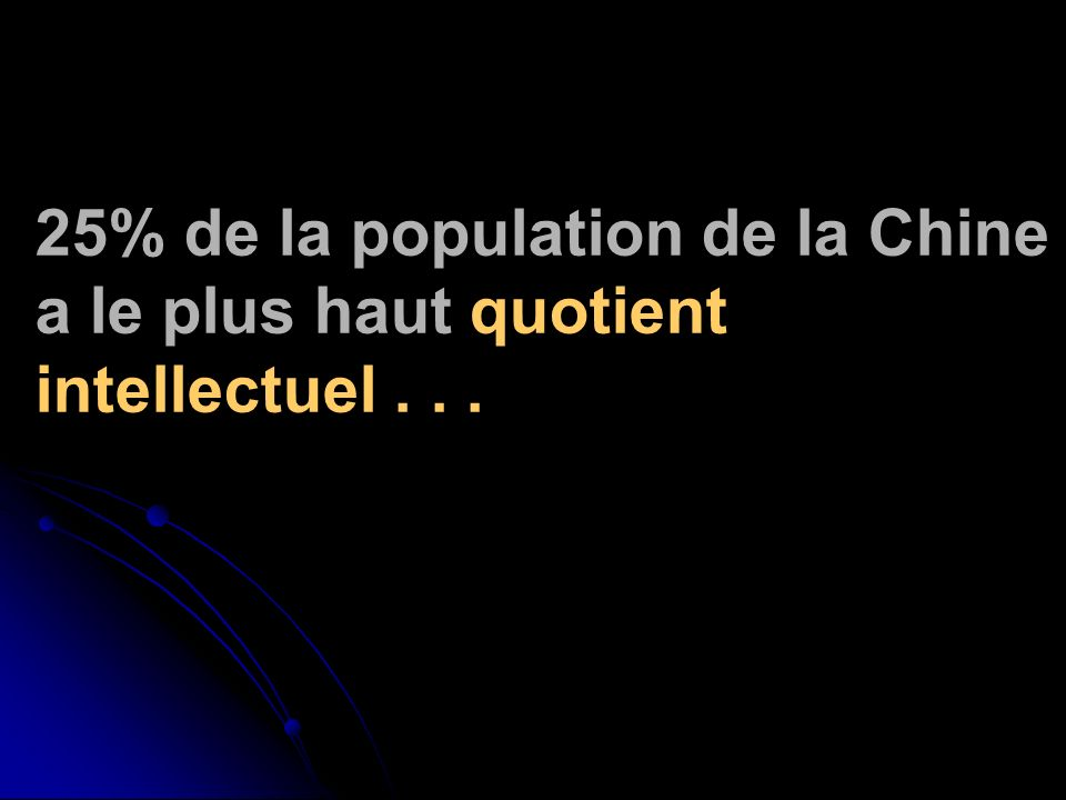 25% de la population de la Chine a le plus haut quotient intellectuel...