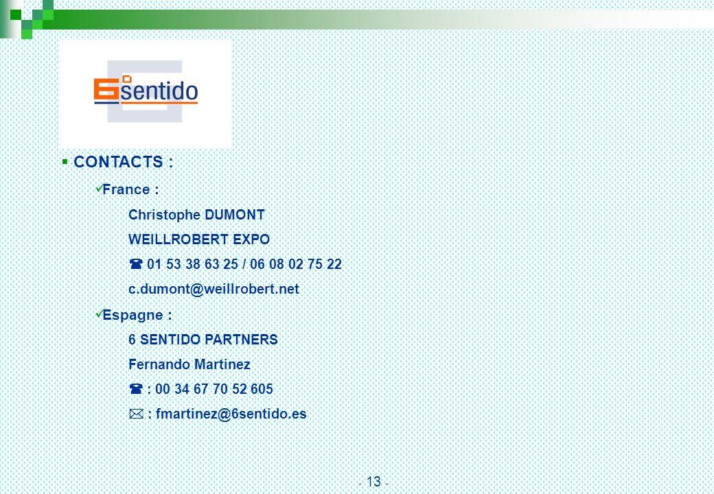 CONTACTS : France : Christophe DUMONT WEILLROBERT EXPO 01 53 38 63 25 / 06 08 02 75 22 c.dumont@weillrobert.net Espagne : 6 SENTIDO PARTNERS Fernando