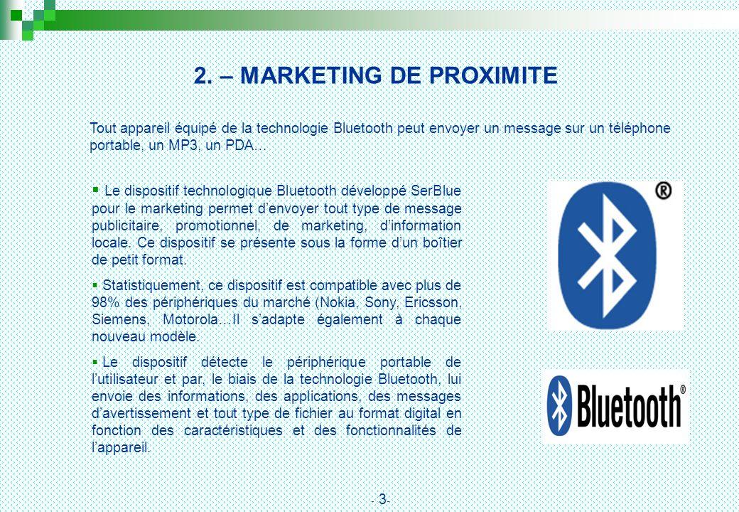 2. – MARKETING DE PROXIMITE Le dispositif technologique Bluetooth développé SerBlue pour le marketing permet denvoyer tout type de message publicitair