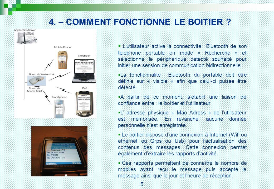4. – COMMENT FONCTIONNE LE BOITIER ? Lutilisateur active la connectivité Bluetooth de son téléphone portable en mode « Recherche » et sélectionne le p