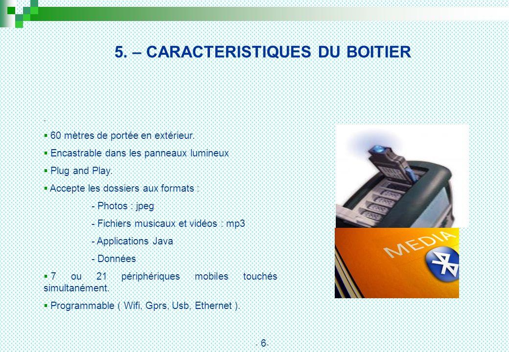 5. – CARACTERISTIQUES DU BOITIER. 60 mètres de portée en extérieur. Encastrable dans les panneaux lumineux Plug and Play. Accepte les dossiers aux for