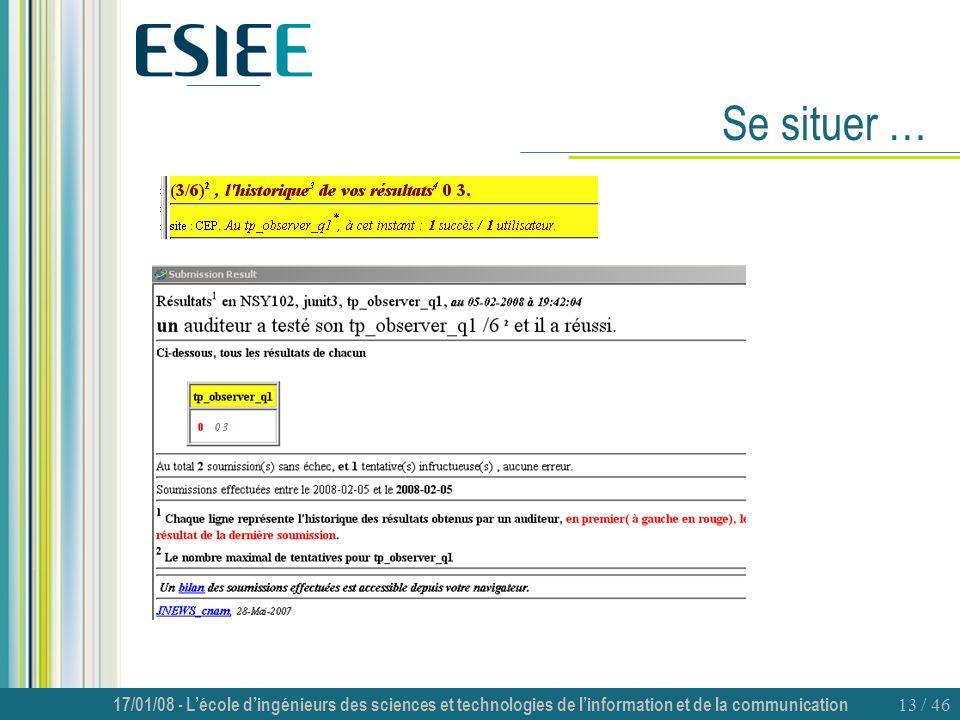 17/01/08 - Lécole dingénieurs des sciences et technologies de linformation et de la communication 13 / 46 Se situer …