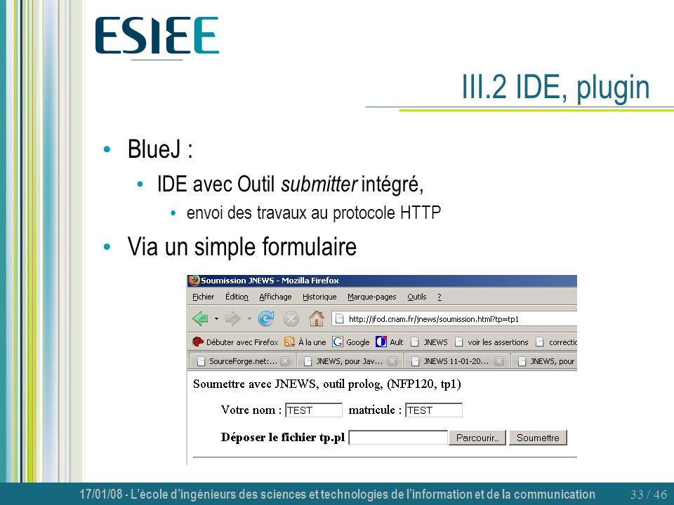 17/01/08 - Lécole dingénieurs des sciences et technologies de linformation et de la communication 33 / 46 III.2 IDE, plugin BlueJ : IDE avec Outil sub