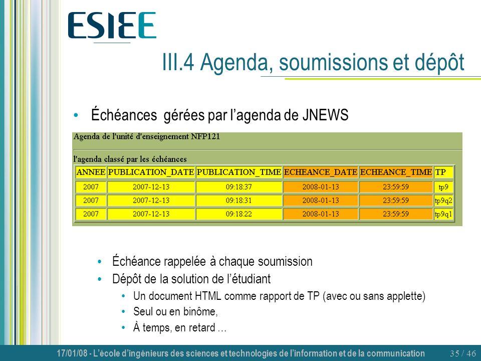 17/01/08 - Lécole dingénieurs des sciences et technologies de linformation et de la communication 35 / 46 III.4 Agenda, soumissions et dépôt Échéances