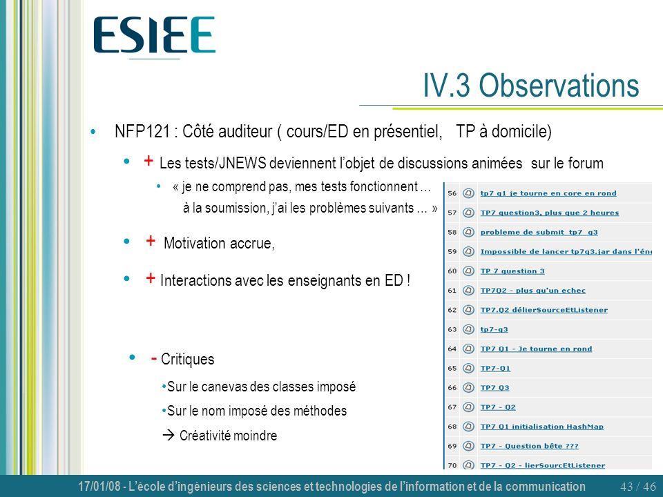 17/01/08 - Lécole dingénieurs des sciences et technologies de linformation et de la communication 43 / 46 IV.3 Observations NFP121 : Côté auditeur ( c