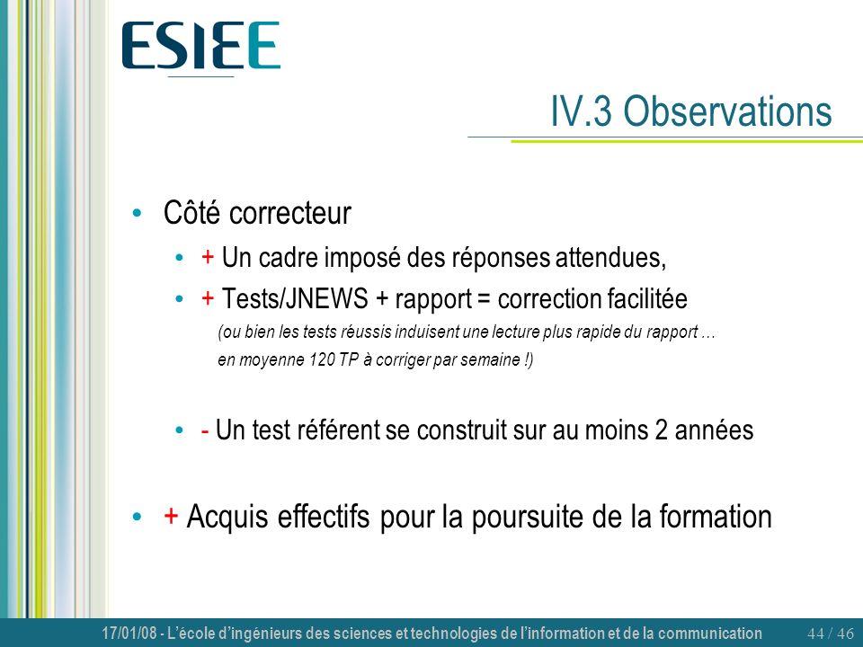 17/01/08 - Lécole dingénieurs des sciences et technologies de linformation et de la communication 44 / 46 IV.3 Observations Côté correcteur + Un cadre