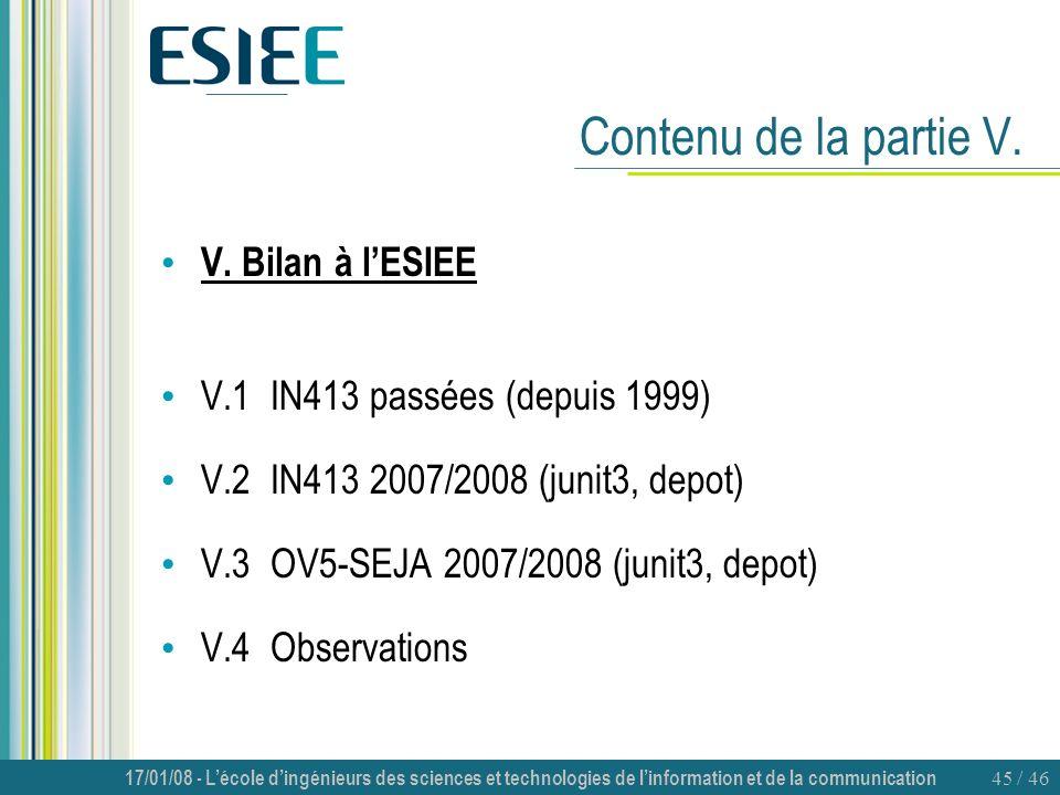 17/01/08 - Lécole dingénieurs des sciences et technologies de linformation et de la communication 45 / 46 Contenu de la partie V. V. Bilan à lESIEE V.