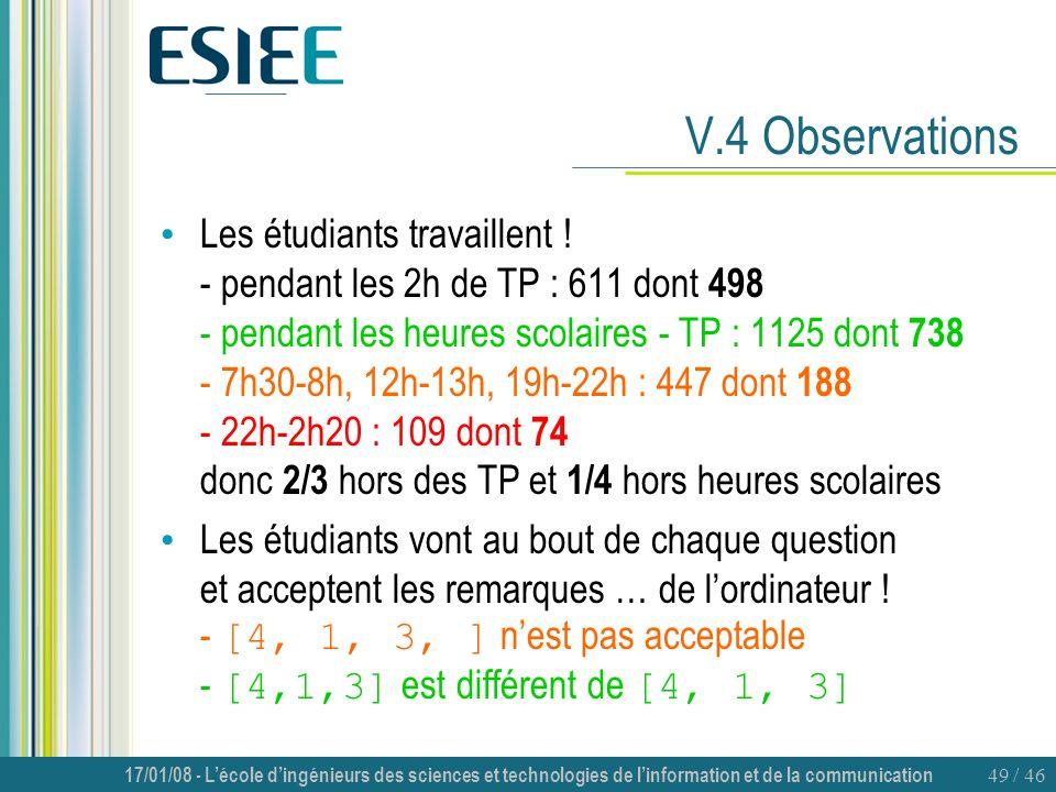 17/01/08 - Lécole dingénieurs des sciences et technologies de linformation et de la communication 49 / 46 V.4 Observations Les étudiants travaillent !