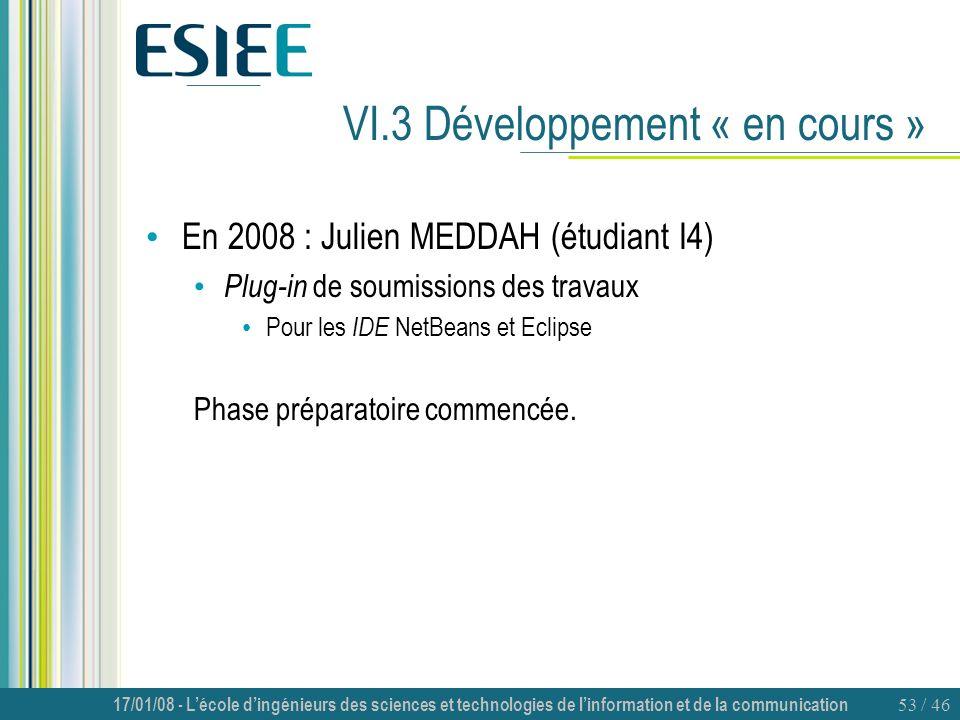 17/01/08 - Lécole dingénieurs des sciences et technologies de linformation et de la communication 53 / 46 VI.3 Développement « en cours » En 2008 : Ju