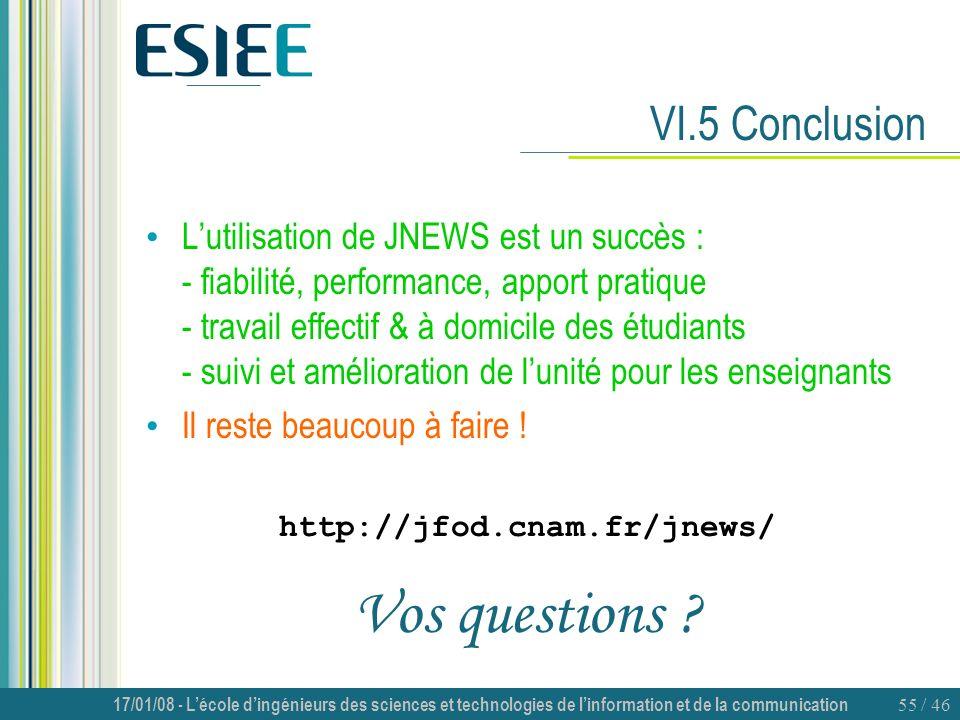 17/01/08 - Lécole dingénieurs des sciences et technologies de linformation et de la communication 55 / 46 VI.5 Conclusion Lutilisation de JNEWS est un
