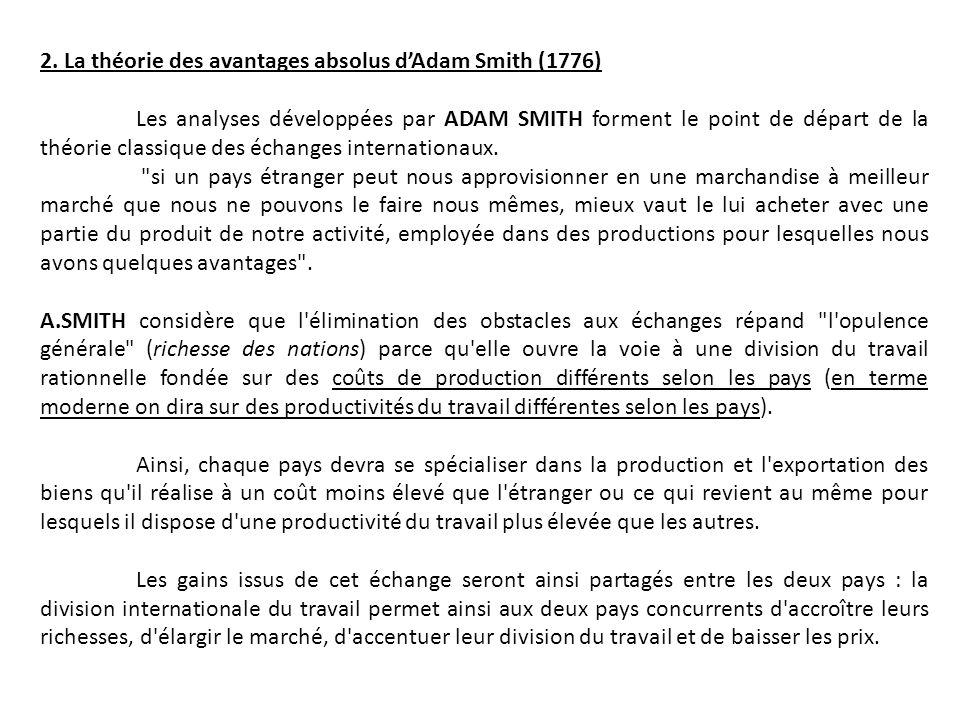 2. La théorie des avantages absolus dAdam Smith (1776) Les analyses développées par ADAM SMITH forment le point de départ de la théorie classique des