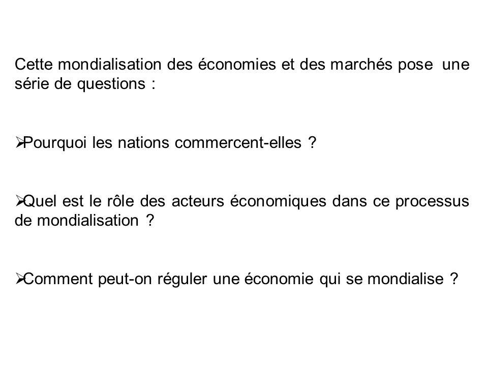 Cette mondialisation des économies et des marchés pose une série de questions : Pourquoi les nations commercent-elles .