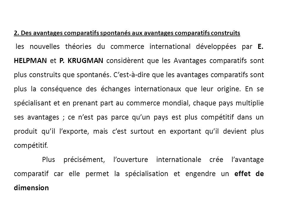 2. Des avantages comparatifs spontanés aux avantages comparatifs construits les nouvelles théories du commerce international développées par E. HELPMA