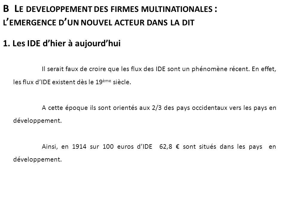 B L E DEVELOPPEMENT DES FIRMES MULTINATIONALES : L EMERGENCE D UN NOUVEL ACTEUR DANS LA DIT 1.
