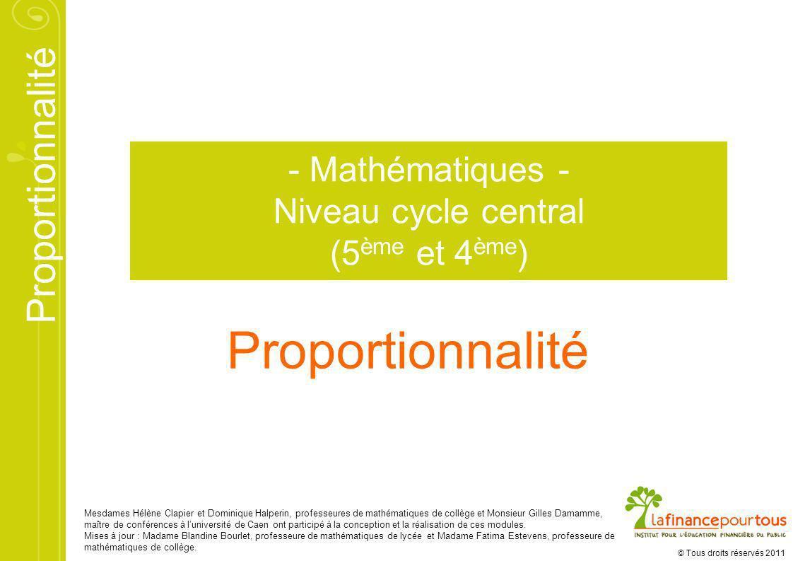 Proportionnalité © Tous droits réservés 2011 Mesdames Hélène Clapier et Dominique Halperin, professeures de mathématiques de collège et Monsieur Gille
