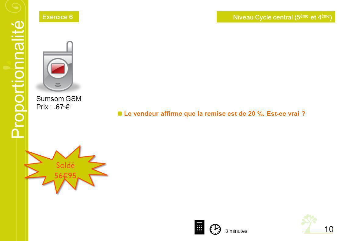 Proportionnalité 10 Sumsom GSM Prix : 67 Soldé 5695 Le vendeur affirme que la remise est de 20 %. Est-ce vrai ? 3 minutes Niveau Cycle central (5 ème