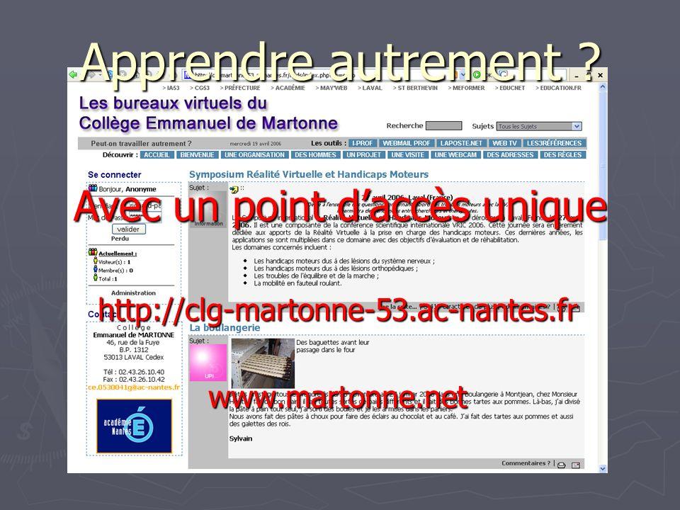 Avec un point daccès unique http://clg-martonne-53.ac-nantes.fr www.martonne.net