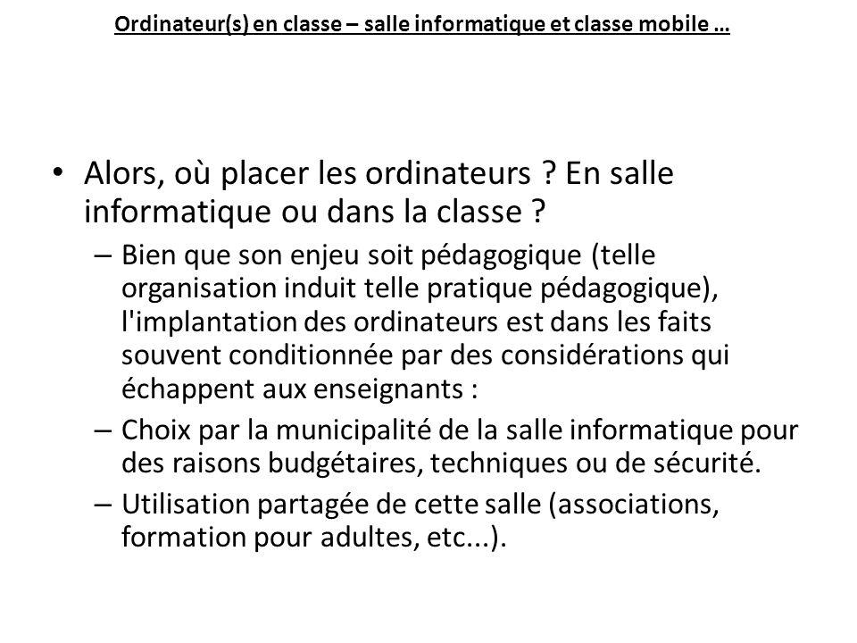 Ordinateur(s) en classe – salle informatique et classe mobile … Alors, où placer les ordinateurs .