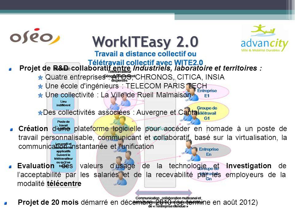 WorkITEasy 2.0 Création dune plateforme logicielle pour accéder en nomade à un poste de travail personnalisable, communicant et collaboratif, basé sur la virtualisation, la communication instantanée et l unification Projet de 20 mois démarré en décembre 2010 (se termine en août 2012) Projet de R&D collaboratif entre Industriels, laboratoire et territoires : Quatre entreprises : ATOS, CHRONOS, CITICA, INSIA Une école d ingénieurs : TELECOM PARIS TECH Une collectivité : La Ville de Rueil Malmaison Des collectivités associées : Auvergne et Cantal Evaluation des valeurs dusage de la technologie et Investigation de lacceptabilité par les salariés et de la recevabilité par les employeurs de la modalité télécentre