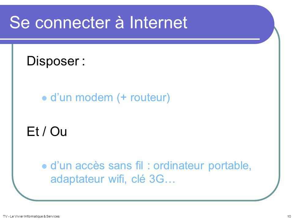 Se connecter à Internet Disposer : dun modem (+ routeur) Et / Ou dun accès sans fil : ordinateur portable, adaptateur wifi, clé 3G… TV - Le Vivier Inf