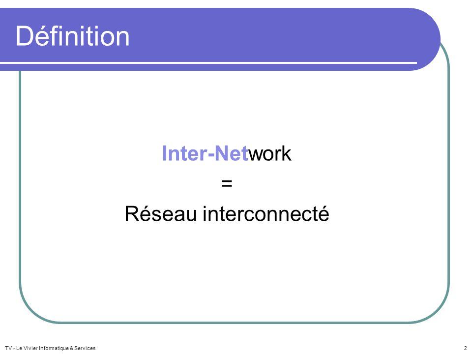 Intranet / Extranet / Internet Intranet : réseau local fermé, intra- entreprise Extranet : réseau local autorisant des accès extérieurs limités et contrôlés par identifiant et mot de passe Internet : réseau ouvert sur lextérieur TV - Le Vivier Informatique & Services13