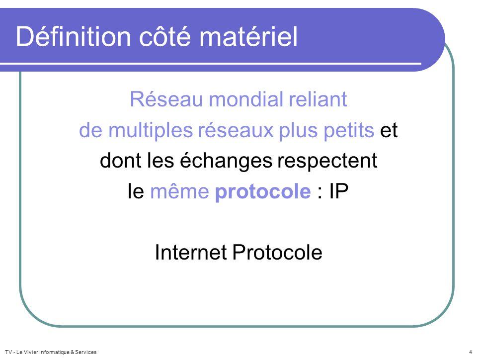 TV - Le Vivier Informatique & Services4 Définition côté matériel Réseau mondial reliant de multiples réseaux plus petits et dont les échanges respecte