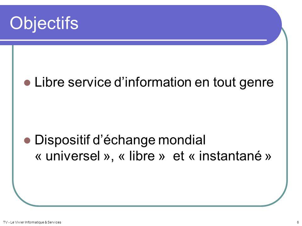 Objectifs Libre service dinformation en tout genre Dispositif déchange mondial « universel », « libre » et « instantané » TV - Le Vivier Informatique