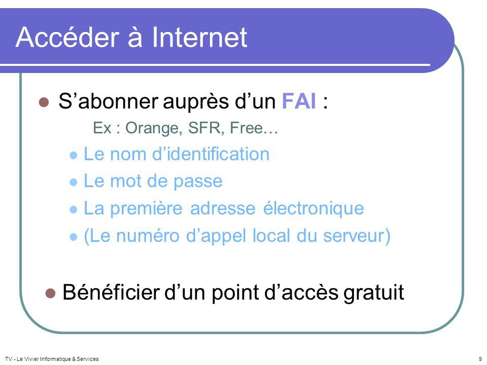 Se connecter à Internet Disposer : dun modem (+ routeur) Et / Ou dun accès sans fil : ordinateur portable, adaptateur wifi, clé 3G… TV - Le Vivier Informatique & Services10