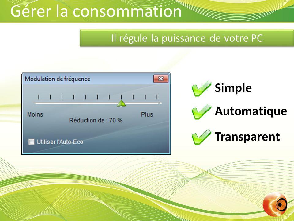 Il régule la puissance de votre PC Simple Automatique Transparent Gérer la consommation