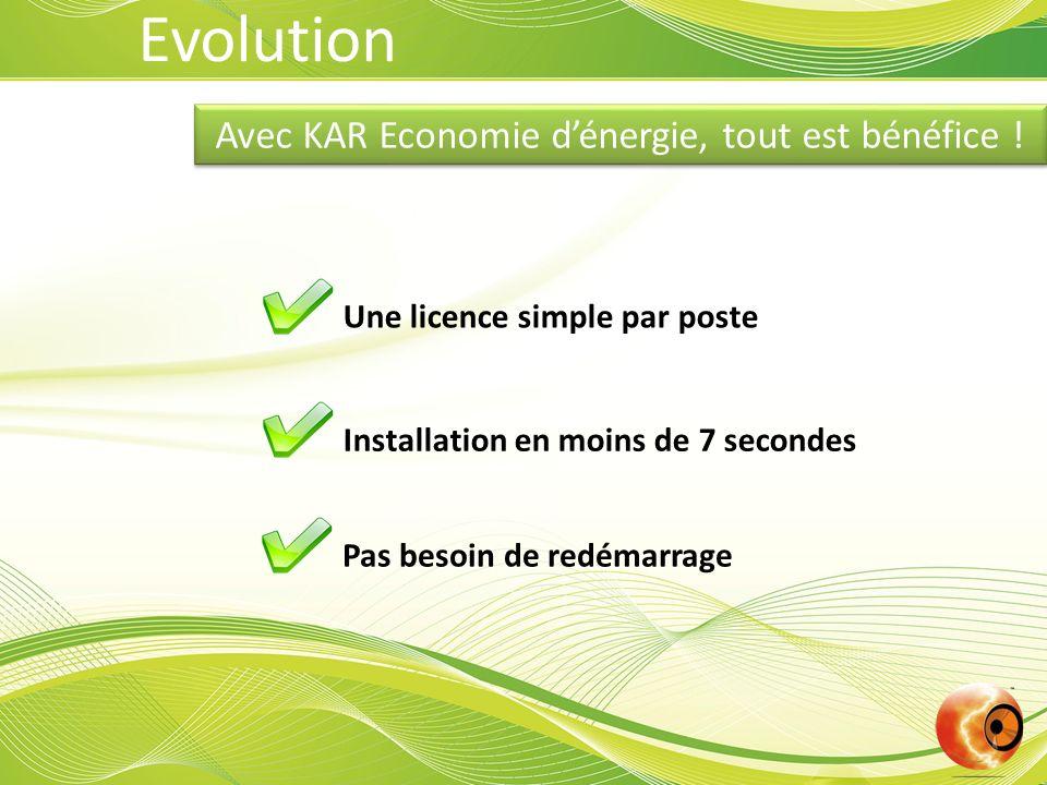 Avec KAR Economie dénergie, tout est bénéfice ! Une licence simple par poste Installation en moins de 7 secondes Pas besoin de redémarrage Evolution