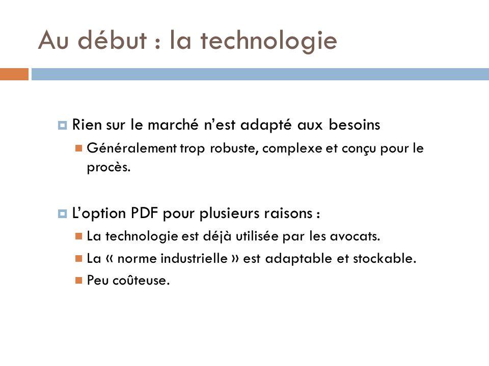 Au début : la technologie Rien sur le marché nest adapté aux besoins Généralement trop robuste, complexe et conçu pour le procès.