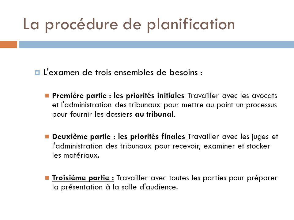 La procédure de planification L examen de trois ensembles de besoins : Première partie : les priorités initiales Travailler avec les avocats et l administration des tribunaux pour mettre au point un processus pour fournir les dossiers au tribunal.