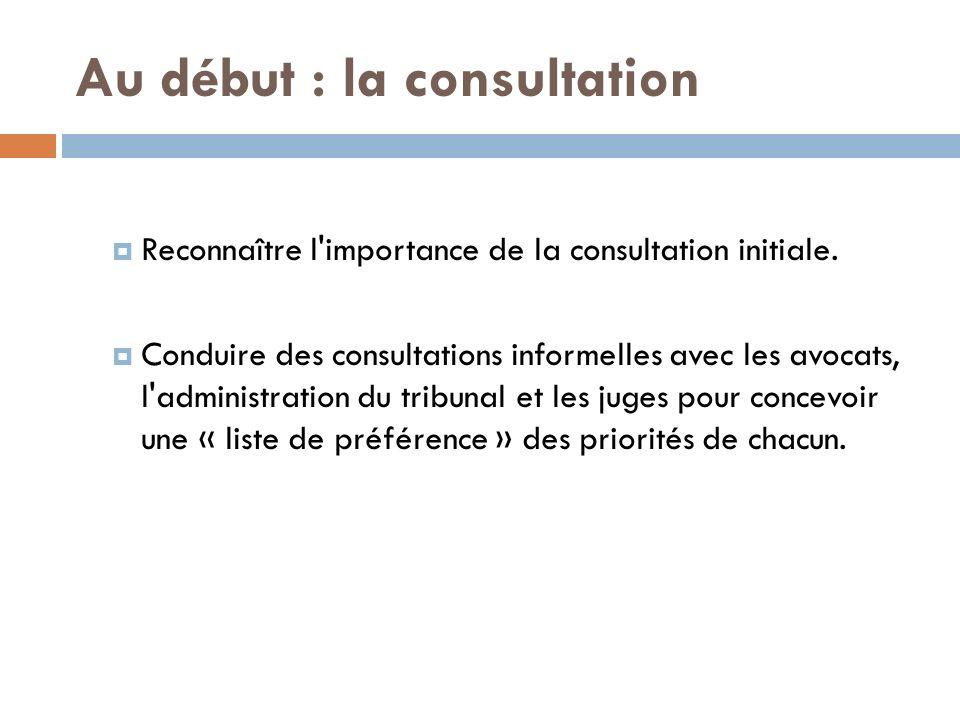 Au début : la consultation