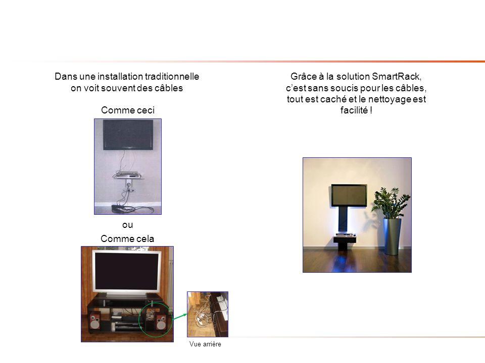 Dans une installation traditionnelle on voit souvent des câbles Grâce à la solution SmartRack, cest sans soucis pour les câbles, tout est caché et le nettoyage est facilité .