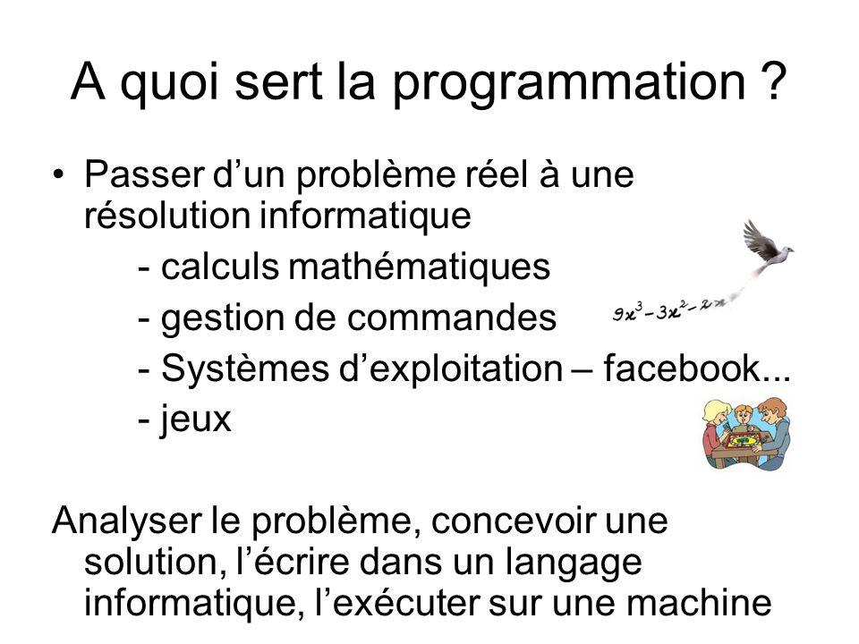 A quoi sert la programmation ? Passer dun problème réel à une résolution informatique - calculs mathématiques - gestion de commandes - Systèmes dexplo