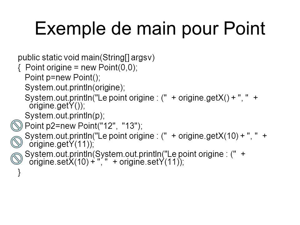 Exemple de main pour Point public static void main(String[] argsv) { Point origine = new Point(0,0); Point p=new Point(); System.out.println(origine);