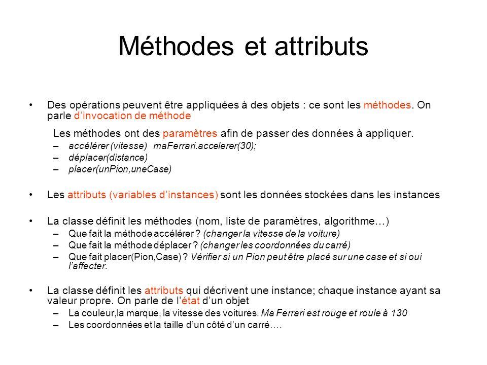 Méthodes et attributs Des opérations peuvent être appliquées à des objets : ce sont les méthodes. On parle dinvocation de méthode Les méthodes ont des