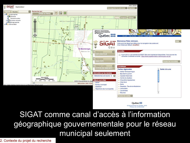 SIGAT comme canal daccès à linformation géographique gouvernementale pour le réseau municipal seulement 2. Contexte du projet du recherche