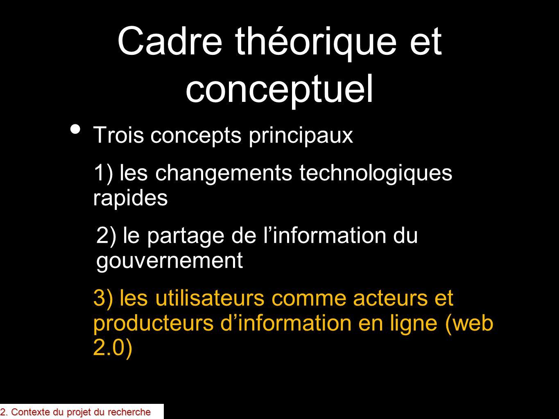 Cadre théorique et conceptuel Trois concepts principaux 1) les changements technologiques rapides 2) le partage de linformation du gouvernement 3) les